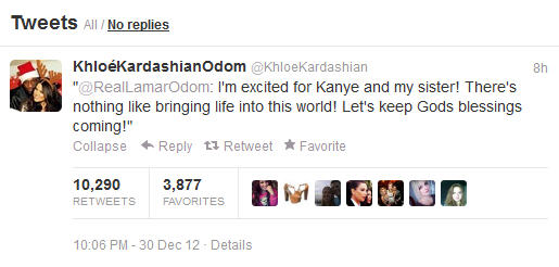 Khloe Kardasian Tweets About Kim's Pregnancy
