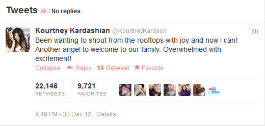 Kourtney Kardasian Tweets About Kim's Pregnancy