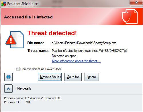 Spotify Virus Detected