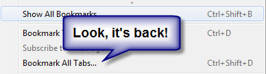 Firefox Bookmark Tab Pages Returns