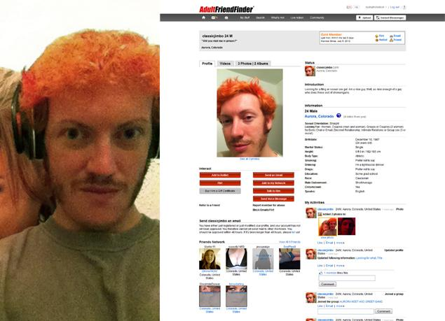 James Holmes on Adult FriendFinder