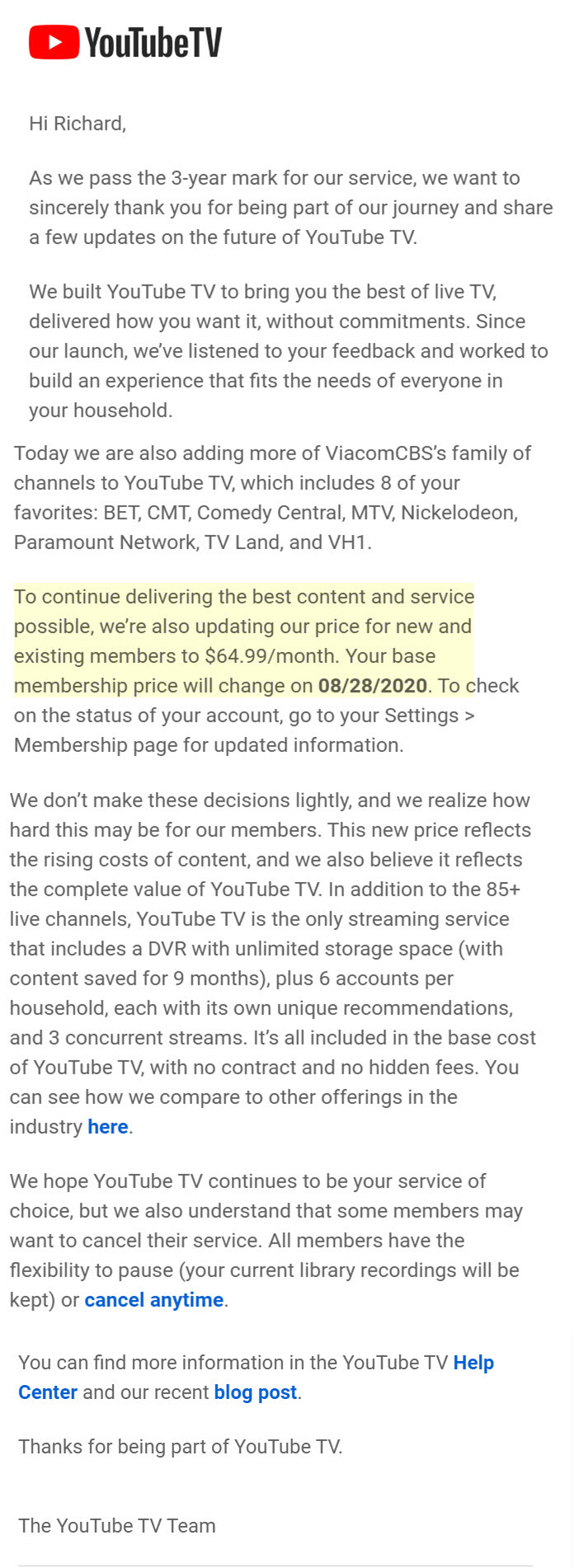 youtube-tv-price-increase-email